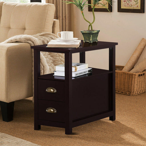 Brown End Table Shelf Narrow Nightstand Side Chair