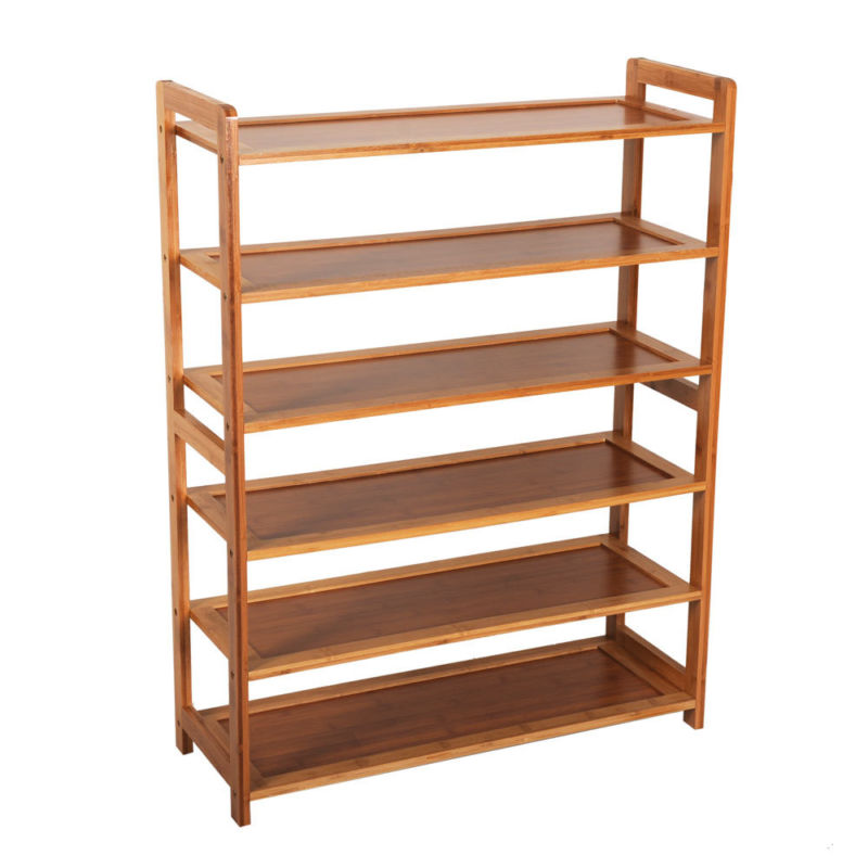 Durable Bamboo Shelf Tier 6 Wood Home Furniture Entryway Storage Rack Shoe