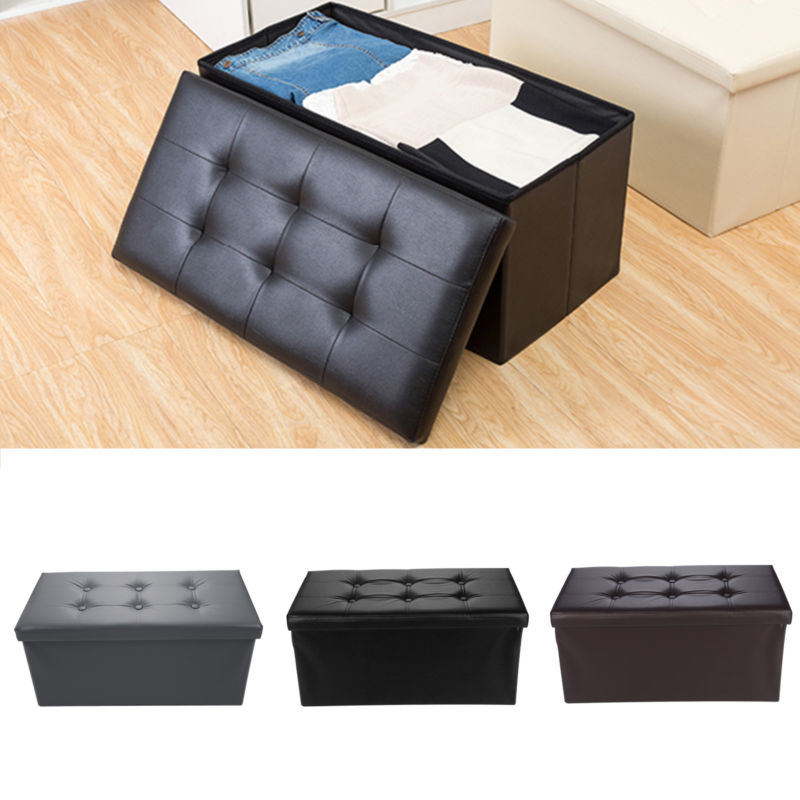Folding PU Leather Ottoman Bench Pouffe Storage Box - Toyzor.com