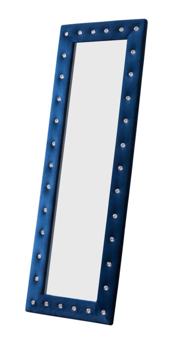 Blue Velvet Modern Upholstered Tufted Standing Floor Mirror