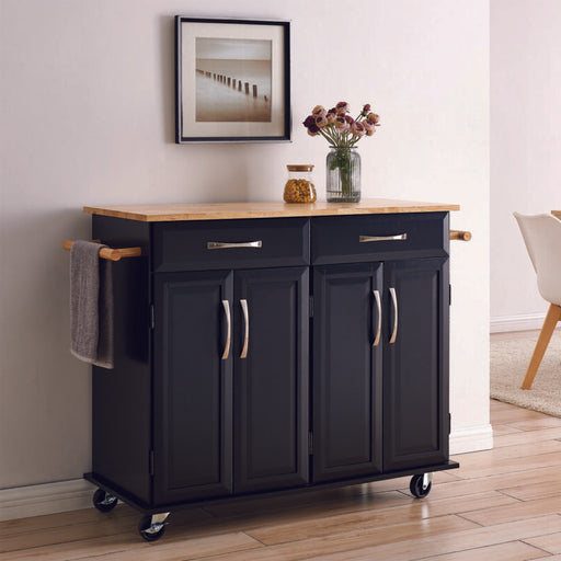 Modern Rolling Kitchen Cart Island Wood Top Storage Trolley Cabinet Utility Cart