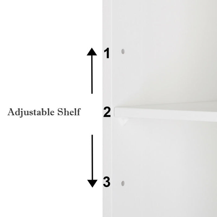 Bathroom Floor Storage Cabinet with Double Door Adjustable Shelf (White)