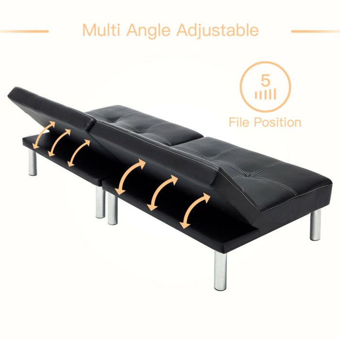 Fold Down Sofa Bed Convertible Lounge Couch Leather Futon with Steel Leg