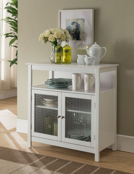 White Finish Wood Kitchen Storage Buffet Cabinet With Glass Doors
