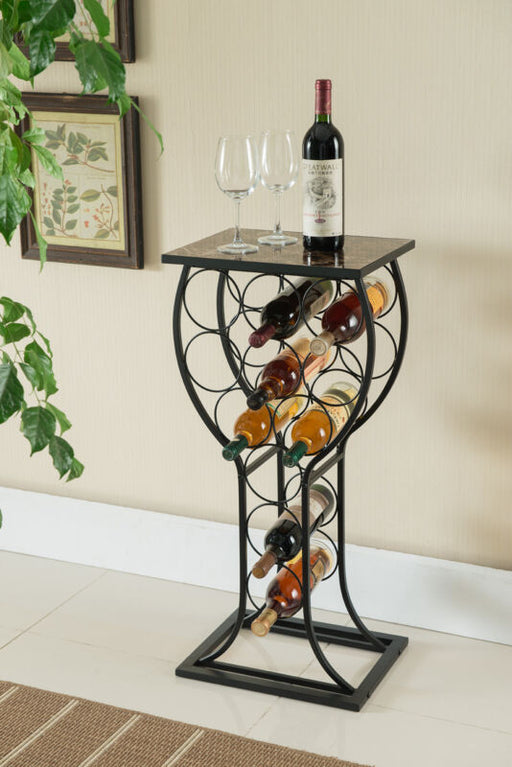 Metal With Marble Finish Wine Storage Organizer Display Rack Table