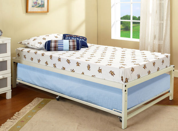 White Metal Twin Size Platform Bed Frame With Roll Out Trundle
