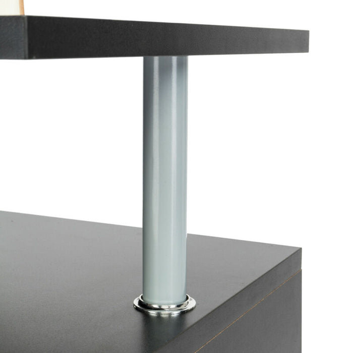 Black Square Coffee End Side Table with Storage Cube Shelves
