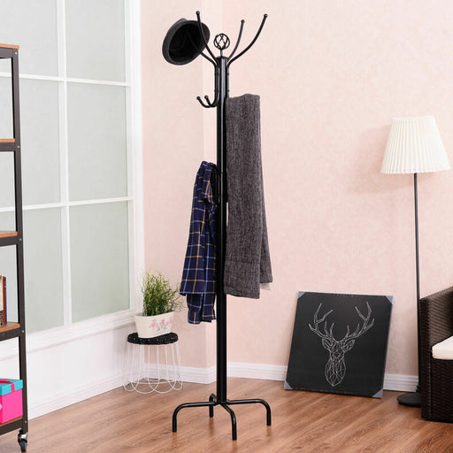 Metal Coat Rack Free Standing Tree Holder Hanger Hooks (Black)