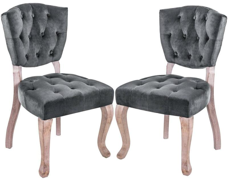 Set of 2 Elegant Velvet Fabric Tufted Dining Chairs