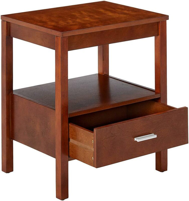 Walnut Finish Wood Side End Table Night Stand With Storage