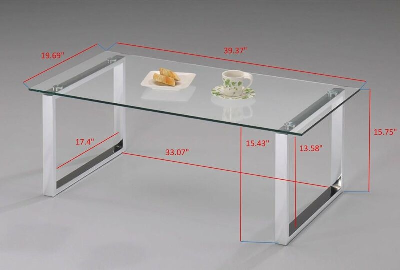Chrome Finish With Glass Top Occasional Coffee Table