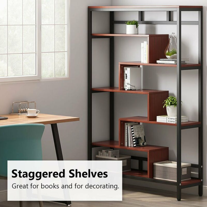 7-Shelf Bookcase Modern Contemporary Cube Bookshelf
