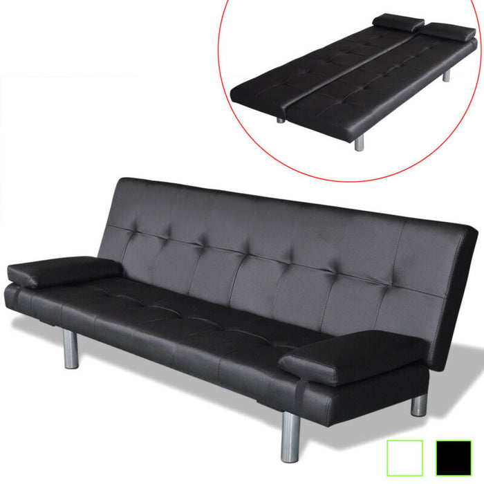 Artificial Leather Convertible Sofa Bed  Futon Couch