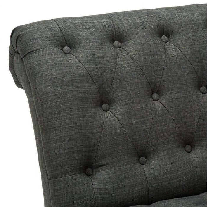 Button Tufted Accent Linen Upholstered Lounge Backrest  Chair