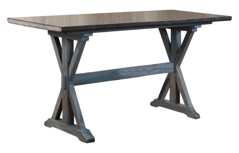 Grey/Blue 7-Piece Counter Height Dining Set, Table & 6 Stools