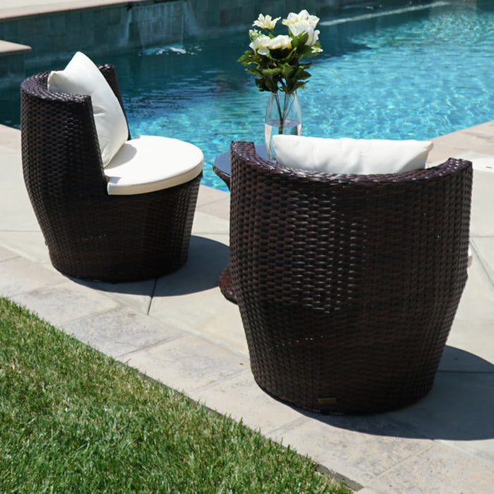Patio Outdoor Rattan Set Wicker Furniture: Glass Table Brown Round Chairs