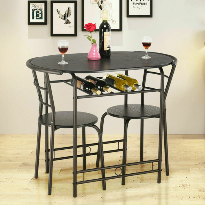 3 PCS Dining Set Table and 2 Chairs Bistro Pub