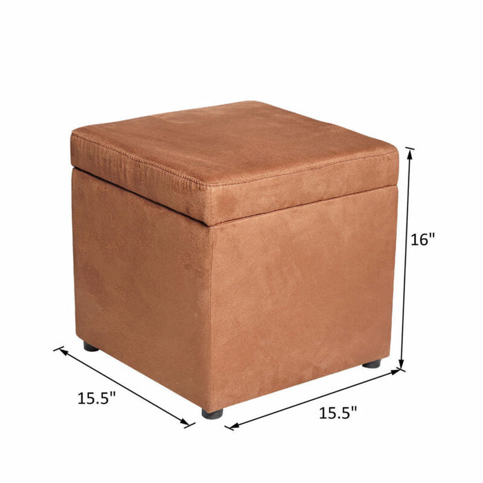 Microfiber Storage Box Ottoman Square Seat Foot Stool
