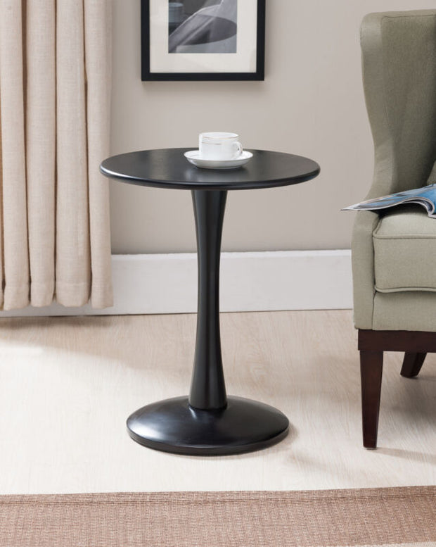 Black Finish Wood Round Plant Side Accent End Table