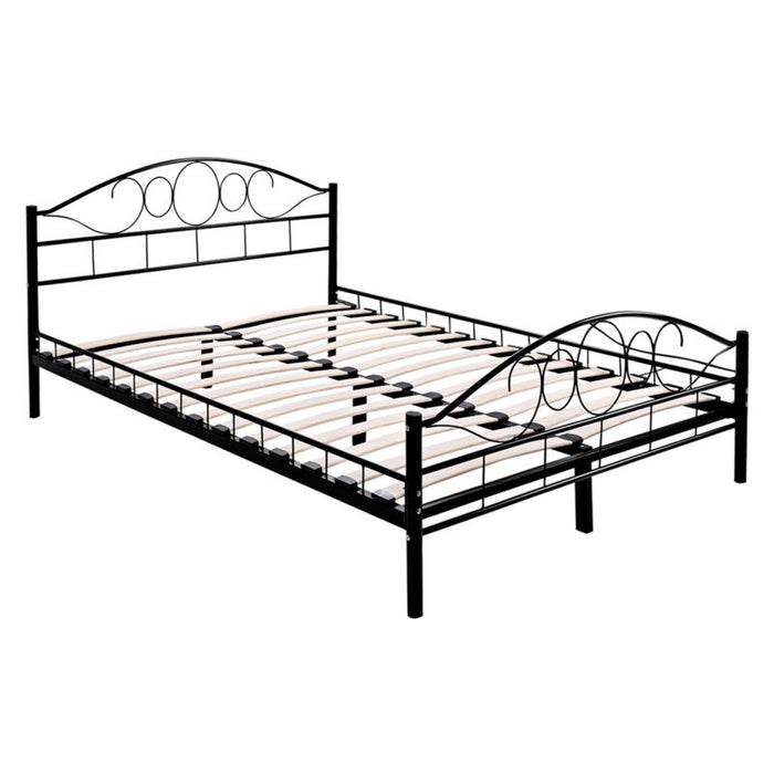 Queen Size Wood Slats Steel Bed Frame Platform