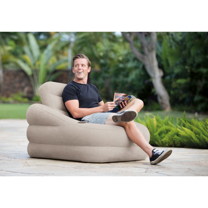 Intex Inflatable Khaki Accent Chair with Cup Holder and Water Base |