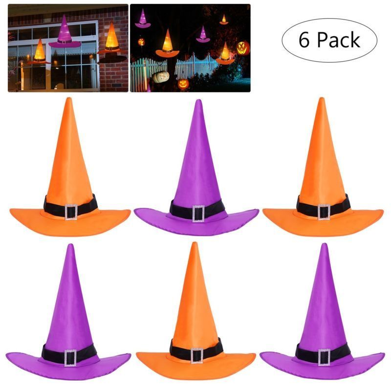 10M String Outdoor Lights Halloween Decorations Witch Hats  - 6PCS - Toyzor.com