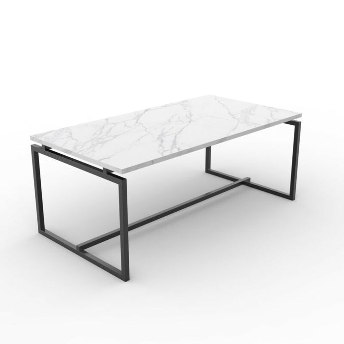Metal Frame Cocktail Coffee Table Faux Marble Rectangular Accent