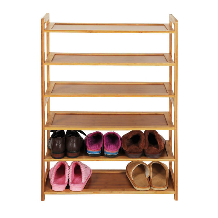 6 Tier Natural Wood Bamboo Shelf and Shoe Rack - Toyzor.com