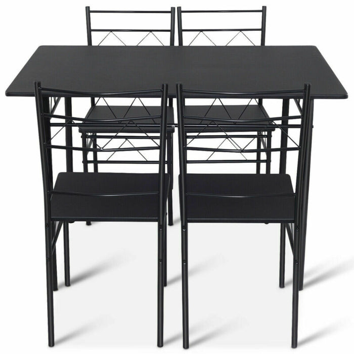 5 Piece Dining Table Set 4 Chairs Wood Metal Kitchen Breakfast Furniture (Black)