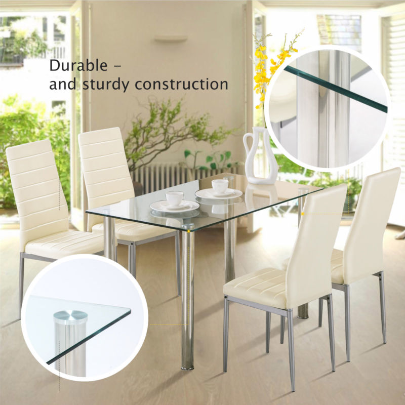 5 Piece Dining Table Set with 4 Chairs Glass Metal Kitchen Room Furniture