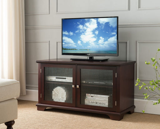 Walnut TV Stand Entertainment Center With Frosted Glass Doors
