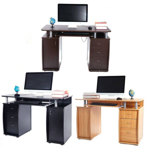 Computer Desk/Writing Table Workstation with Strorage Drawers Shelf