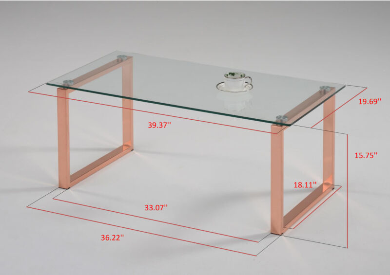 Rose Gold Finish Metal With Temper Glass Coffee Table