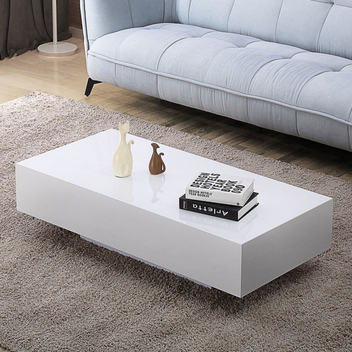 "45"" Modern High Gloss Coffee Table - White - Toyzor.com"