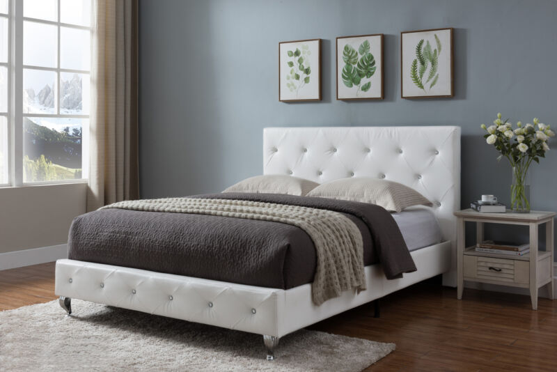 White Faux Leather Full Size Upholstered Platform Bed