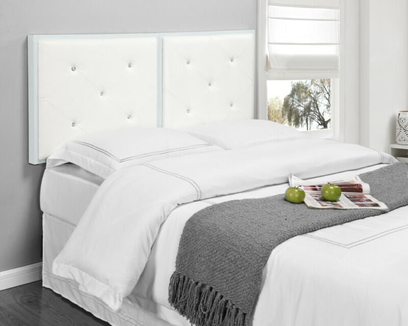 White Metal Full Size Tufted Design Upholstered Headboard