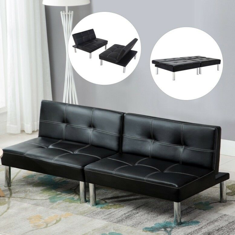 Folding Leather Convertible Couch Futon Sofa Bed