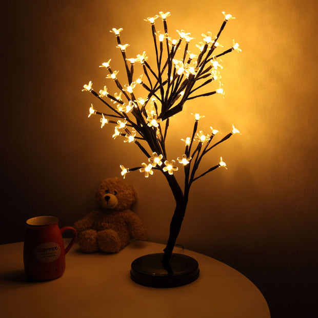 20Inch 64LEDs Cherry Blossom Tree Light for Desk Top - White - Toyzor.com
