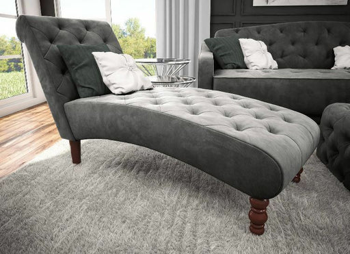 Tufted Gray Velvet Upholstery Fainting Couch Chaise Lounge Chair