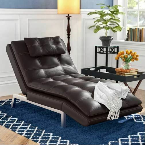 Brown Cushion Recliner Faux Leather Chaise Lounge Chair