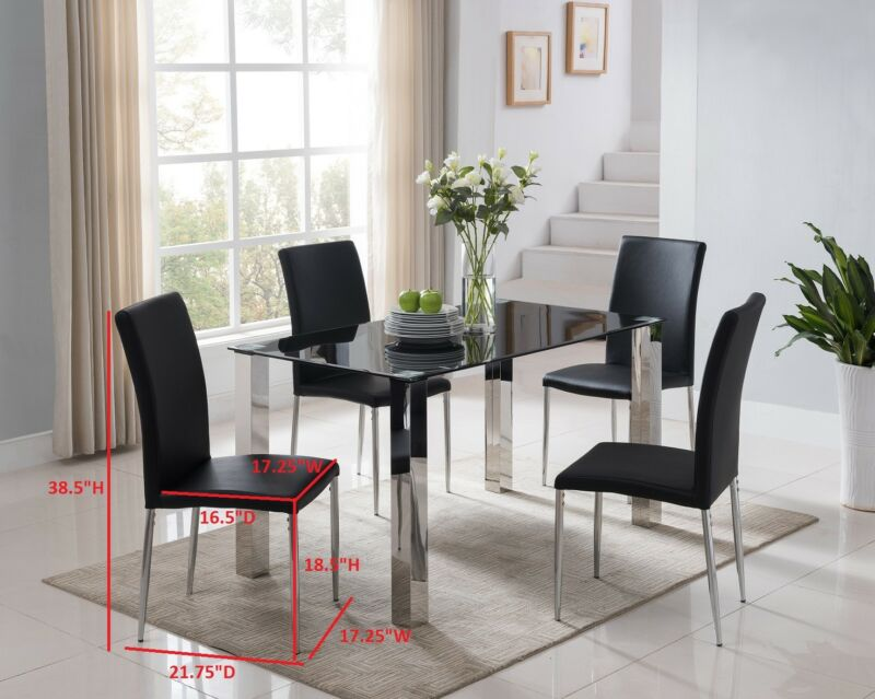 5 Piece Chrome Metal & Black Glass Modern Dining Table & Chairs
