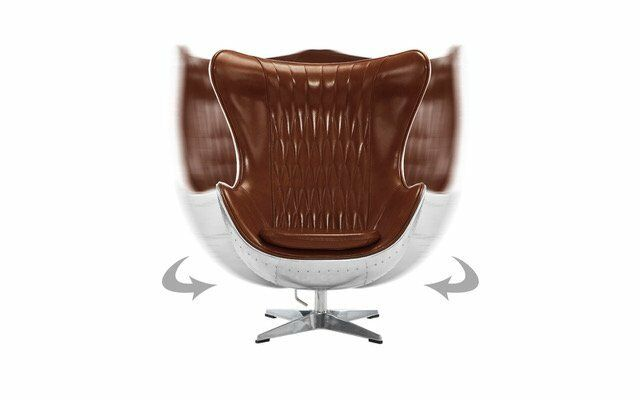 Swivel Egg Chair in Leather Accent Lounge w/ Reclining