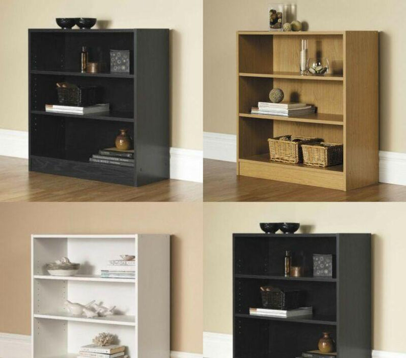 3-Shelf Adjustable Wood Bookcase