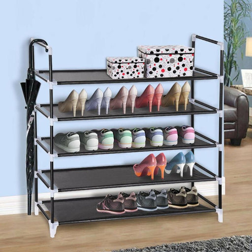 5 Tier Metal Shoe Rack Tower Shelf 25 Pairs