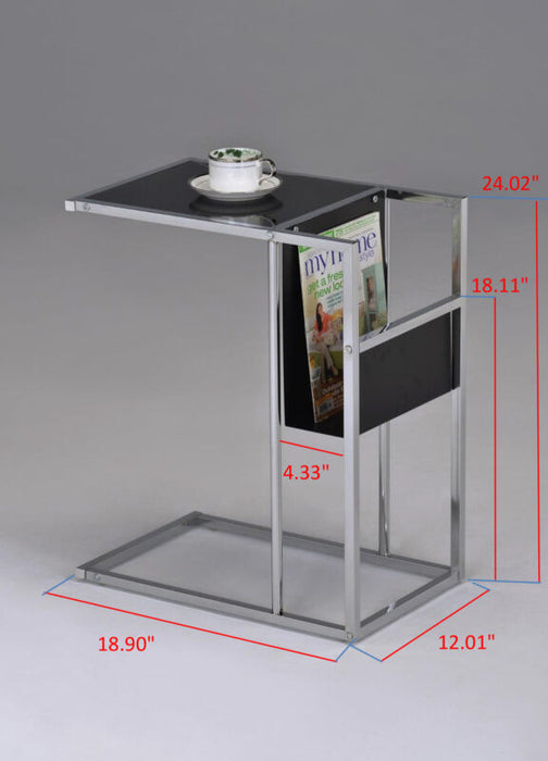Black Printed Glass & Chrome Accent Snack Table with Magazine Rack