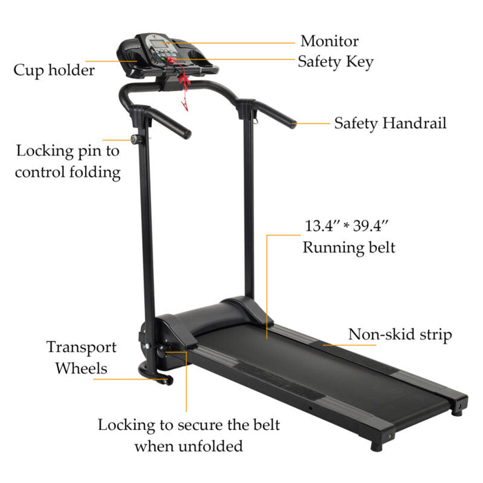 Folding Treadmill Electric Support Motorized Power Running Fitness Machine