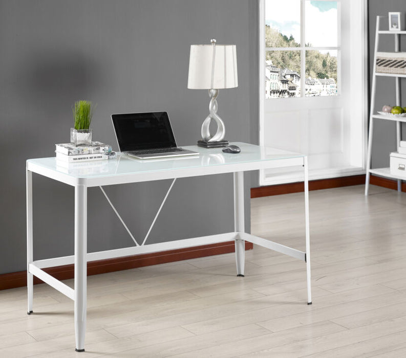 White Tempered Glass Home Office Computer Desk