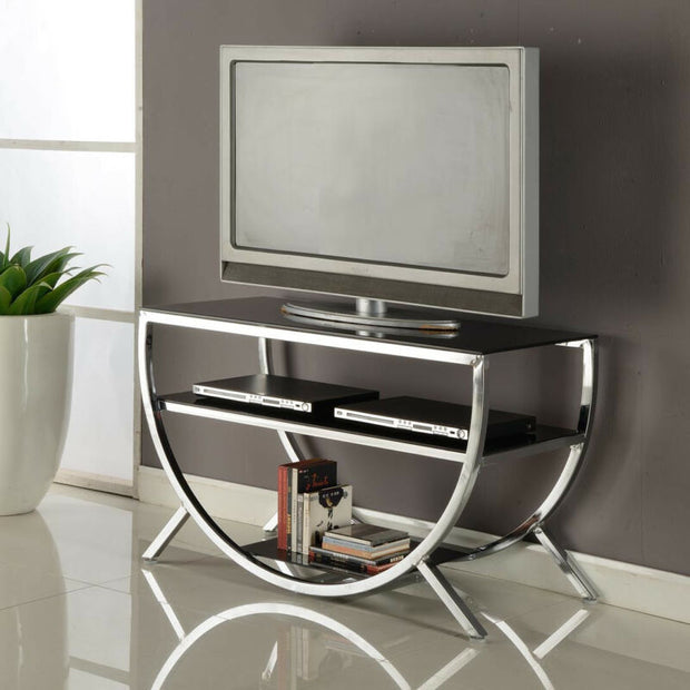 Metal Chrome Finish With Glass Top & Shelves TV Stand