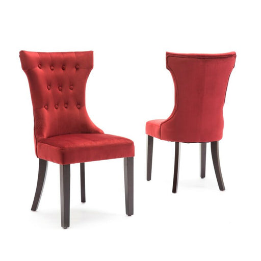 Set of (2) Red Dining Chairs Elegant Button Armless Kitchen Room w/ Wooden Legs