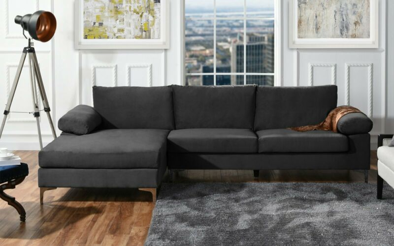 Modern Large Velvet Fabric Sectional Sofa, L-Shape Couch Wide Chaise Lounge  (Grey)